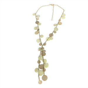 Boho Y Necklace Gold Tone White Adjustable
